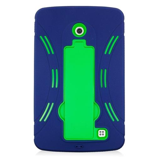 Insten Hybrid Stand Rubber Silicone/PC Case For LG G Pad 7.0, Blue/Green