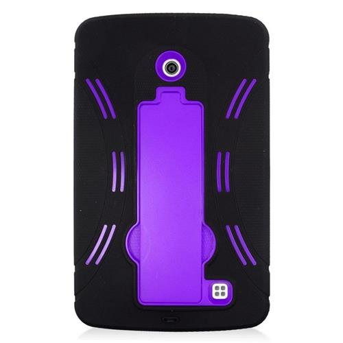 Insten Hybrid Stand Rubber Silicone/PC Case For LG G Pad 7.0, Black/Purple