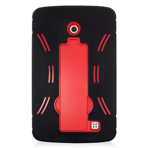 Insten Hybrid Stand Rubber Silicone/PC Case For LG G Pad F 7.0, Black/Red