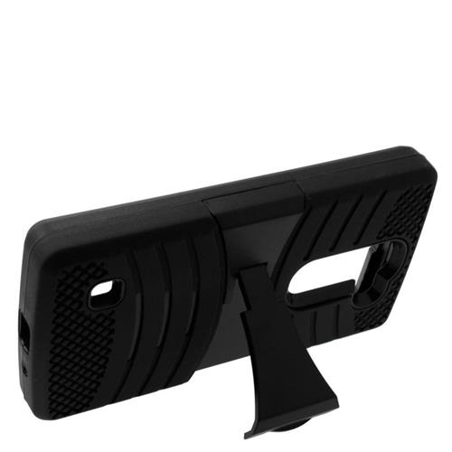 Insten Wave Hybrid Stand Rubber Silicone/PC Case For LG Escape 2 H443 / H445, Black