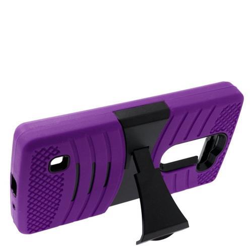 Insten Wave Hybrid Stand Rubber Silicone/PC Case For LG Escape 2 H443 / H445, Purple/Black