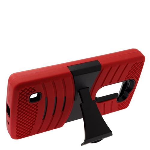 Insten Wave Hybrid Stand Rubber Silicone/PC Case For LG Escape 2 H443 / H445, Red/Black