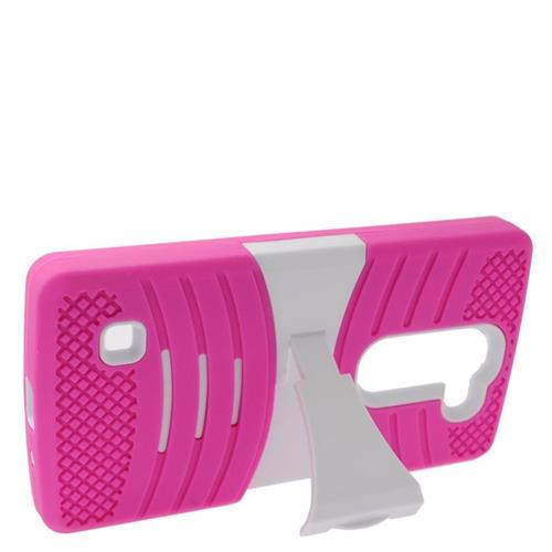 Insten Wave Hybrid Stand Rubber Silicone/PC Case For LG Escape 2 H443 / H445, Hot Pink/Black
