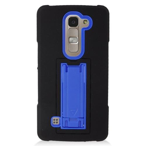 Insten Hybrid Stand Rubber Silicone/PC Case For LG Escape 2 H443 / H445, Black/Blue