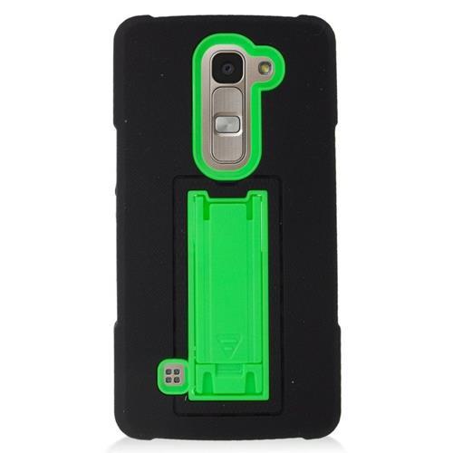 Insten Hybrid Stand Rubber Silicone/PC Case For LG Escape 2 H443 / H445, Black/Green