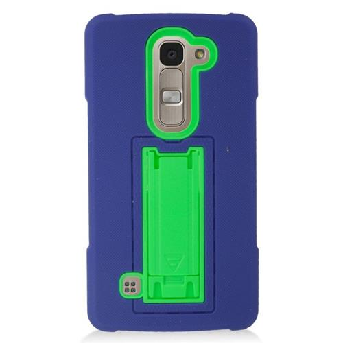 Insten Hybrid Stand Rubber Silicone/PC Case For LG Escape 2 H443 / H445, Blue/Green
