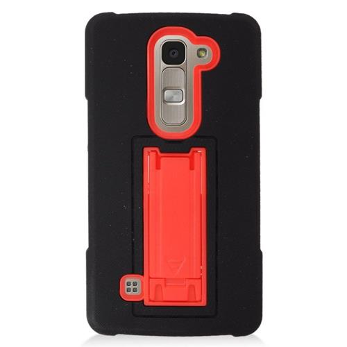Insten Hybrid Stand Rubber Silicone/PC Case For LG Escape 2 H443 / H445, Black/Red