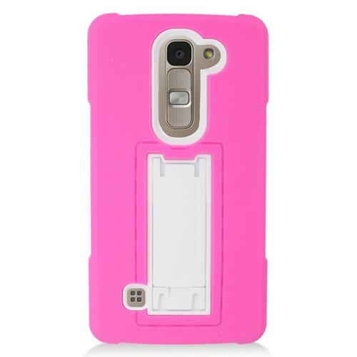 Insten Hybrid Stand Rubber Silicone/PC Case For LG Escape 2 H443 / H445, Hot Pink/White