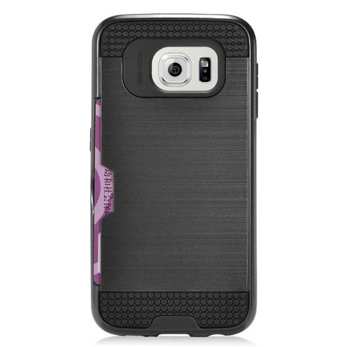 Insten Hybrid Rubberized Hard PC/Silicone ID/Card Slot Case For Samsung Galaxy S6 Edge, Black
