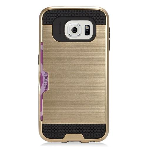 Insten Hybrid Rubberized Hard PC/Silicone ID/Card Slot Case For Samsung Galaxy S6 Edge, Gold/Black