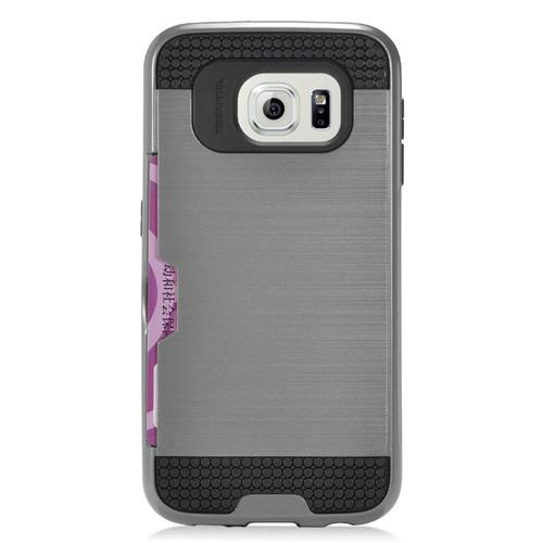 Insten Hybrid Rubberized Hard PC/Silicone ID/Card Slot Case For Samsung Galaxy S6 Edge, Gray/Black