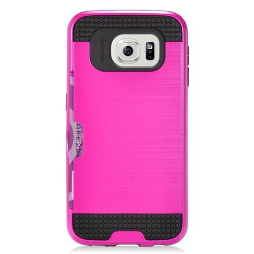 Insten Hybrid Hard PC/Silicone ID/Card Slot Case For Samsung Galaxy S6 Edge, Hot Pink/Black