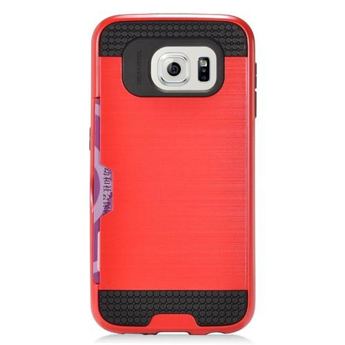 Insten Hybrid Rubberized Hard PC/Silicone ID/Card Slot Case For Samsung Galaxy S6 Edge, Red/Black