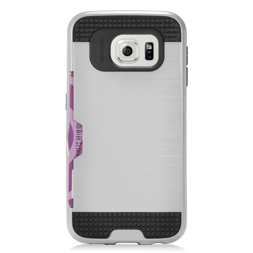 Insten Hybrid Rubberized Hard PC/Silicone ID/Card Slot Case For Samsung Galaxy S6 Edge, Silver/Black