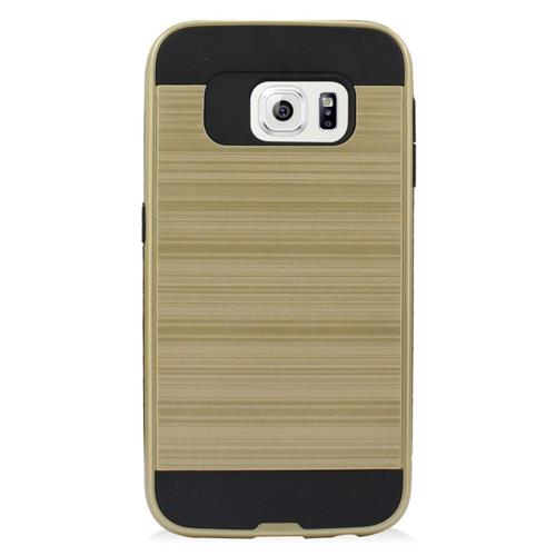 Insten Hybrid Rubberized Hard PC/Silicone Case For Samsung Galaxy S6 Edge, Gold/Black