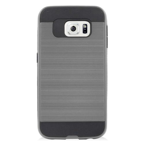 Insten Hybrid Rubberized Hard PC/Silicone Case For Samsung Galaxy S6 Edge, Gray/Black