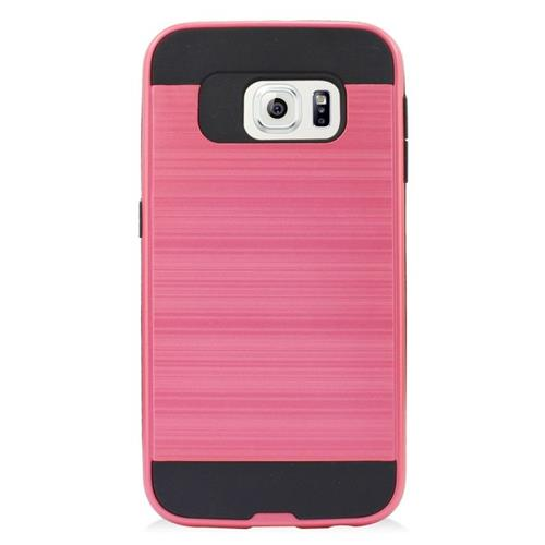 Insten Hybrid Rubberized Hard PC/Silicone Case For Samsung Galaxy S6 Edge, Pink/Black