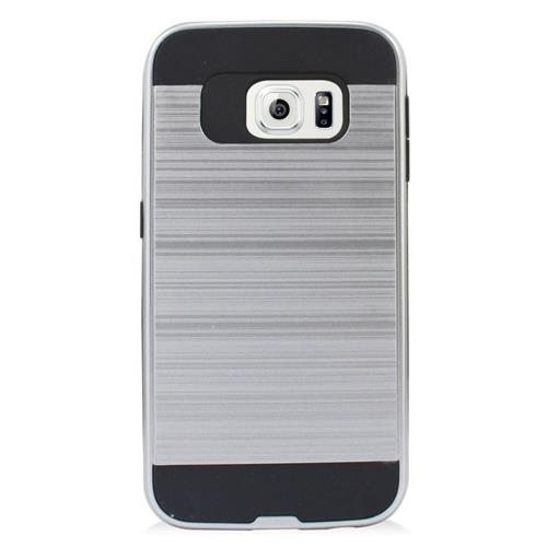 Insten Hybrid Rubberized Hard PC/Silicone Case For Samsung Galaxy S6 Edge, Silver/Black