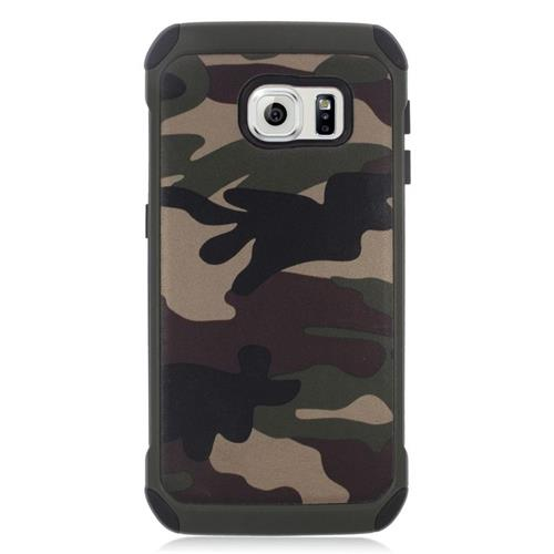 Insten Camouflage Hybrid Rubberized Hard PC/Silicone Case For Samsung Galaxy S6 Edge, Green/Black