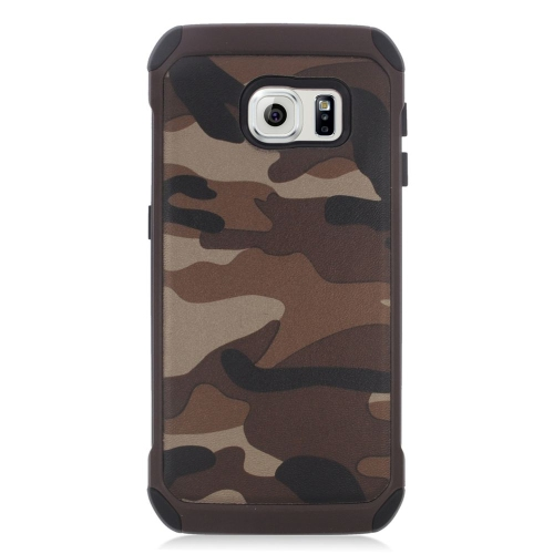Insten Camouflage Hybrid Rubberized Hard PC/Silicone Case For Samsung Galaxy S6 Edge, Brown
