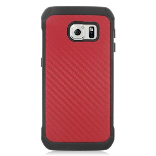 Insten Carbon Fiber Hybrid Rubberized Hard PC/Silicone Case For Samsung Galaxy S6 Edge, Red/Black