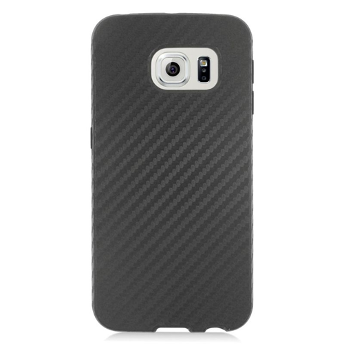 Insten Carbon Fiber Hybrid Rubberized Hard PC/Silicone Case For Samsung Galaxy S6 Edge, Black
