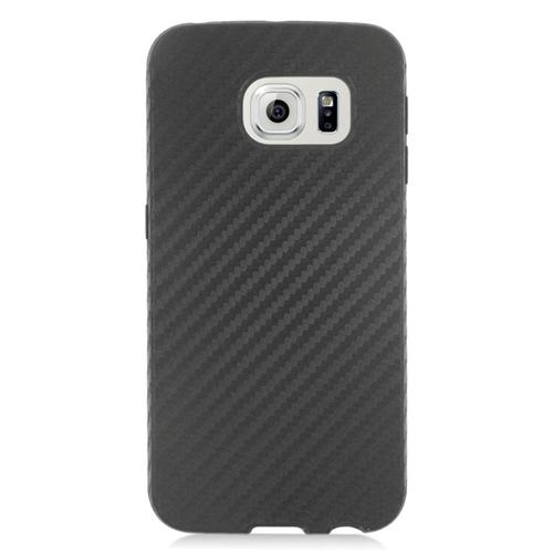 Insten Carbon Fiber Hybrid Rubberized Hard PC/Silicone Case For Samsung Galaxy S6 Edge, Black