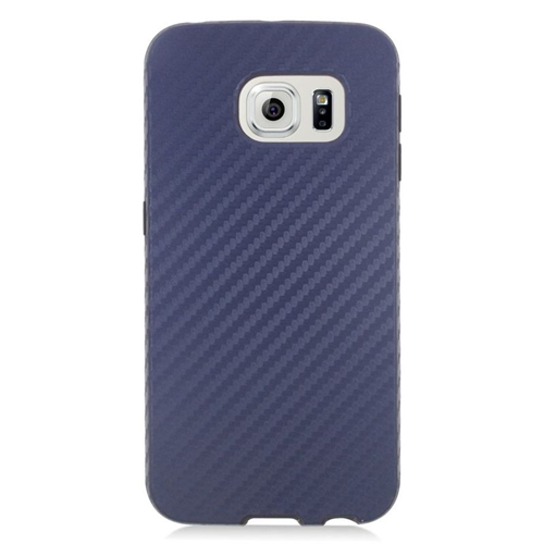 Insten Carbon Fiber Hybrid Rubberized Hard PC/Silicone Case For Samsung Galaxy S6 Edge, Blue/Black