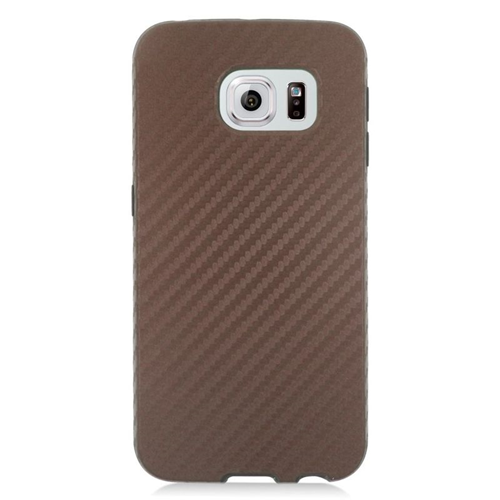Insten Carbon Fiber Hybrid Rubberized Hard PC/Silicone Case For Samsung Galaxy S6 Edge, Brown/Black