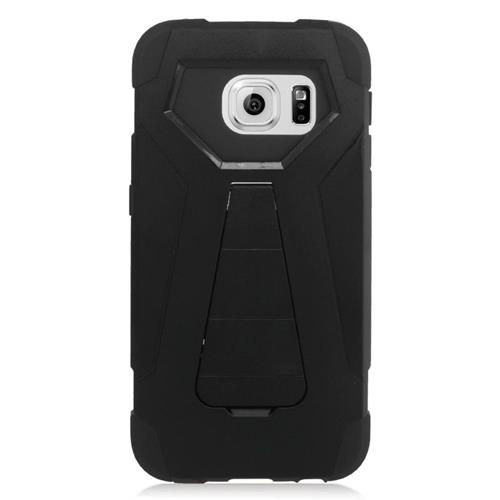 Insten Dual Layer Hybrid Stand PC/Silicone Case Cover Compatible With Samsung Galaxy S6 Edge, Black
