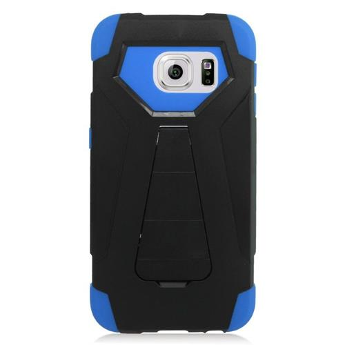 Insten Hybrid Stand PC/Silicone Case For Samsung Galaxy S6 Edge, Black/Blue