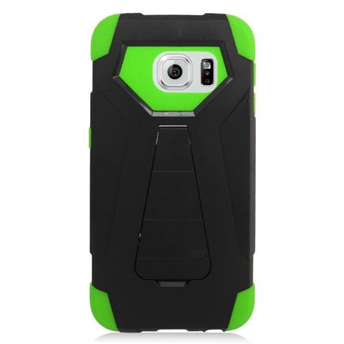 Insten Hybrid Stand PC/Silicone Case For Samsung Galaxy S6 Edge, Black/Green