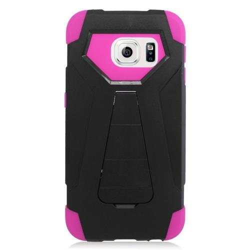 Insten Hybrid Stand PC/Silicone Case For Samsung Galaxy S6 Edge, Black/Hot Pink