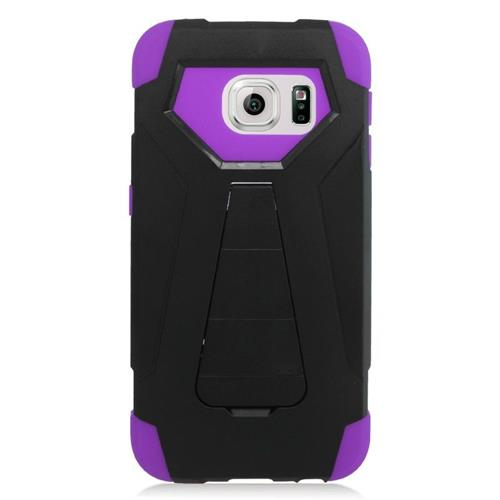 Insten Hybrid Stand PC/Silicone Case For Samsung Galaxy S6 Edge, Black/Purple