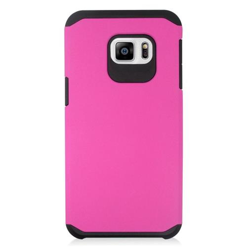 Insten Hybrid Rubberized Hard PC/Silicone Case For Samsung Galaxy S6 Edge Plus, Hot Pink/Black