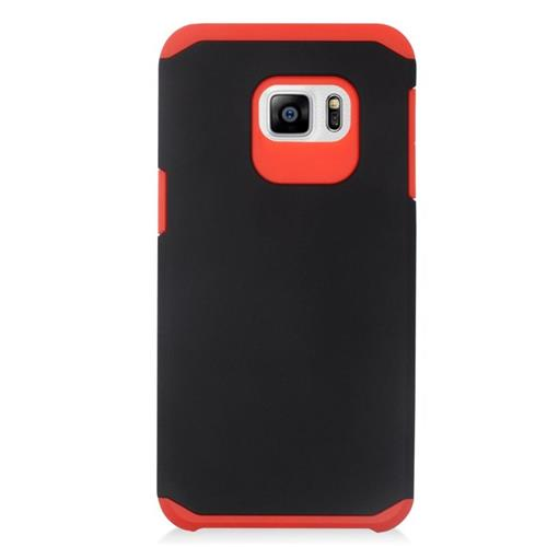 Insten Hybrid Rubberized Hard PC/Silicone Case For Samsung Galaxy S6 Edge Plus, Black/Red