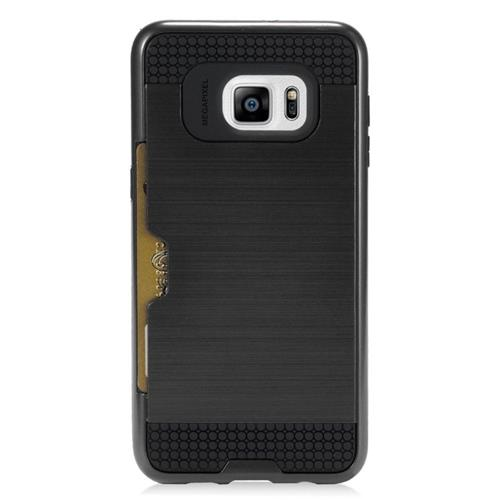 Insten Hybrid Rubberized Hard PC/Silicone ID/Card Slot Case For Samsung Galaxy S6 Edge Plus, Black