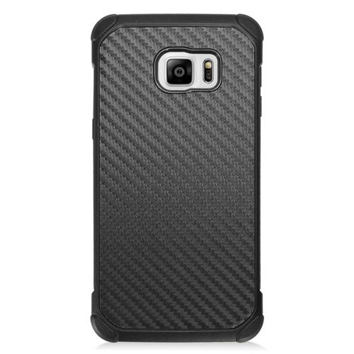 Insten Carbon Fiber Hybrid Rubberized Hard PC/Silicone Case For Samsung Galaxy S6 Edge Plus, Black