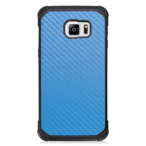 Insten Carbon Fiber Hybrid Hard PC/Silicone Case For Samsung Galaxy S6 Edge Plus, Blue/Black