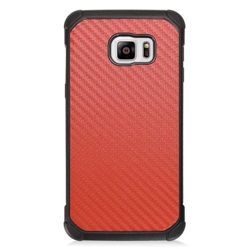Insten Carbon Fiber Hybrid Hard PC/Silicone Case For Samsung Galaxy S6 Edge Plus, Red/Black