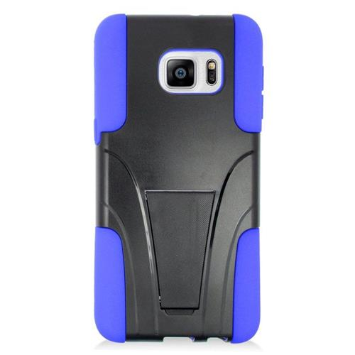 Insten Hybrid Stand PC/Silicone Case For Samsung Galaxy S6 Edge Plus, Black/Blue