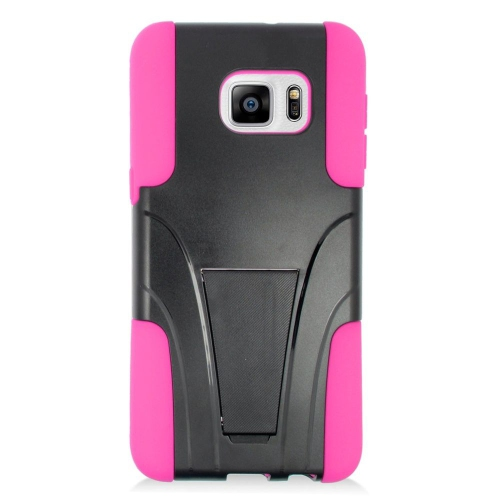 Insten Hybrid Stand PC/Silicone Case For Samsung Galaxy S6 Edge Plus, Black/Hot Pink