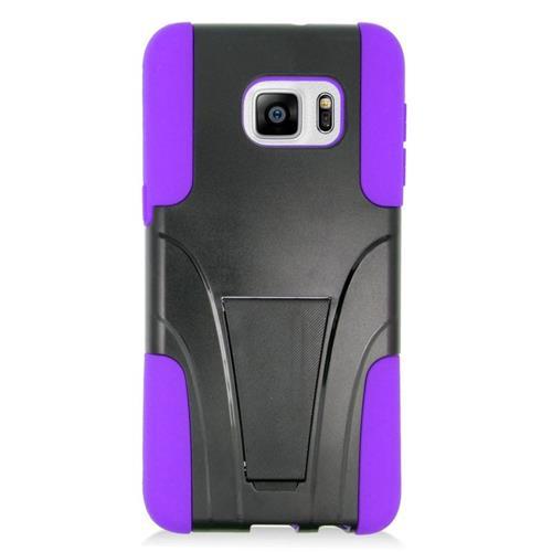 Insten Hybrid Stand PC/Silicone Case For Samsung Galaxy S6 Edge Plus, Black/Purple