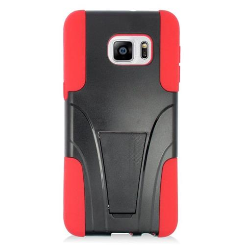 Insten Hybrid Stand PC/Silicone Case For Samsung Galaxy S6 Edge Plus, Black/Red