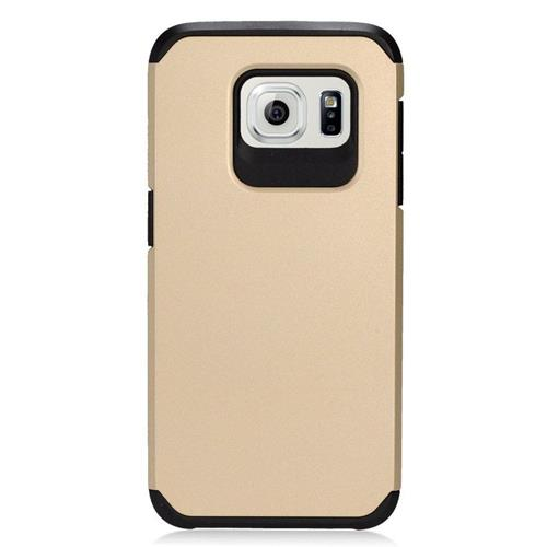 Insten Hybrid Rubberized Hard PC/Silicone Case For Samsung Galaxy S7 Edge, Gold/Black