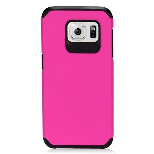 Insten Hybrid Rubberized Hard PC/Silicone Case For Samsung Galaxy S7 Edge, Hot Pink/Black