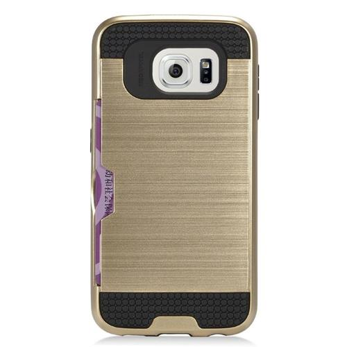 Insten Hybrid Rubberized Hard PC/Silicone ID/Card Slot Case For Samsung Galaxy S7 Edge, Gold/Black