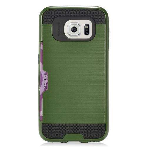 Insten Hybrid Rubberized Hard PC/Silicone ID/Card Slot Case For Samsung Galaxy S7 Edge, Green/Black