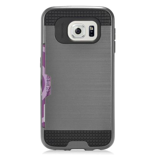 Insten Hybrid Rubberized Hard PC/Silicone ID/Card Slot Case For Samsung Galaxy S7 Edge, Gray/Black