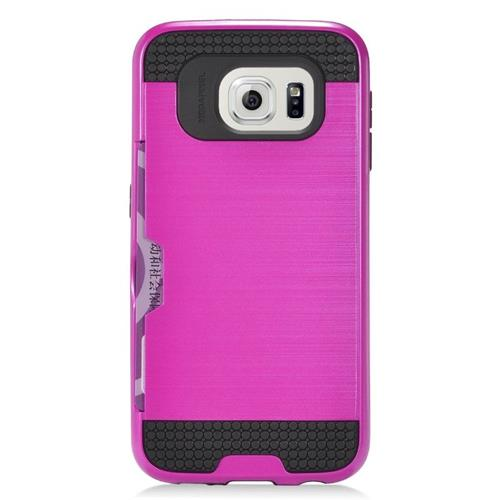 Insten Hybrid Hard PC/Silicone ID/Card Slot Case For Samsung Galaxy S7 Edge, Hot Pink/Black